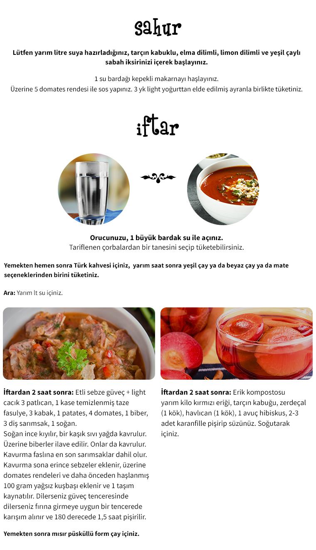 Taylan Kümeliden Diyet Ramazan Menüleri